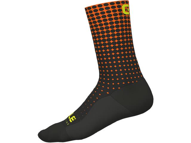 Alé Cycling Dots Calcetines, nero-arancio fluo/black-fluo orange